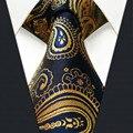 U10 Paisley Laço Dos Homens Gravatas de Ouro Azul Marinho Tamanho Extra Longo Correspondência Hanky100 % de Seda Homens Amarra Os Designers de Vestido Ocasional moda