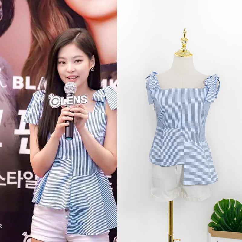 0f57cacd1d7fb Kpop Blackpink JENNIE 2019 coreano verano rayas arco camisa mujer moda  cuello cuadrado irregular ...