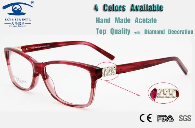 Diamante Armações de óculos Mulheres Óculos de Moda Itália Design Óculos de Acetato De Alta Qualidade Luxo Marca Novos Produtos Para 2015