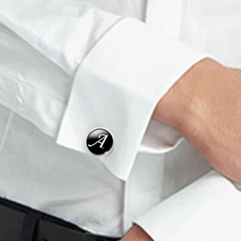 1 ペアビジネス男性スリーブボタン黒地に白文字男性スーツシャツシルバーメッキガラスカボション結婚式アクセサリー