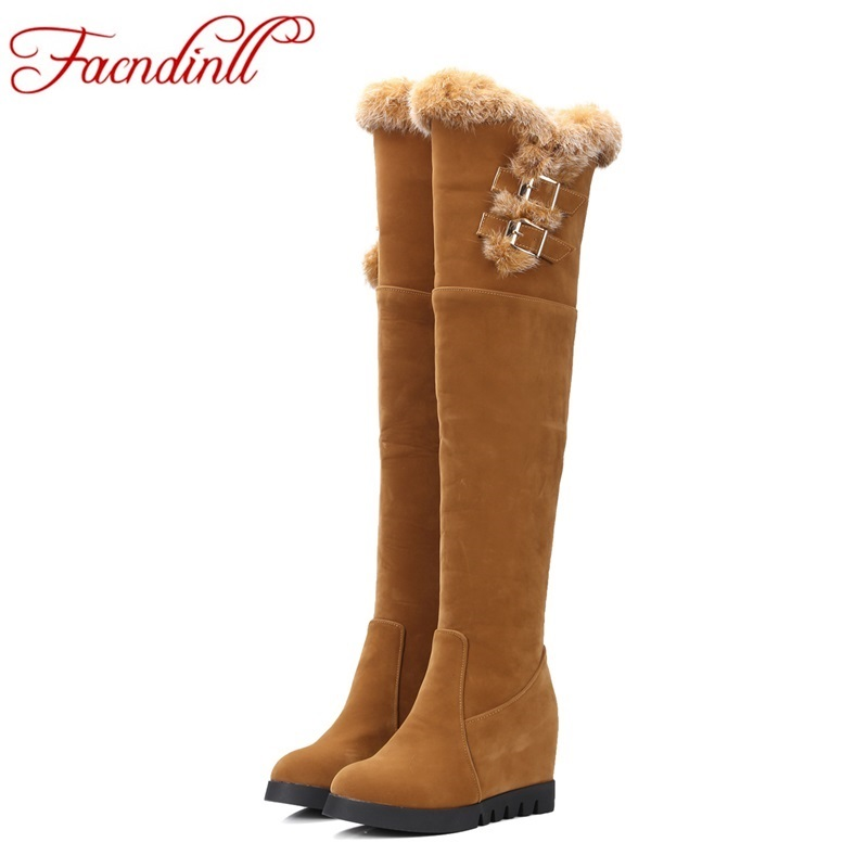ФОТО big size 33-43 new winter shoes women thigh high boots black yellow fur boots russia warm outdoor snow boots platform shoes