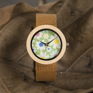Image 5 - בובו ציפור שעונים נשים במבוק שעון פרחי הדפסת גבירותיי שעוני יד עור אמיתי רצועת relogio feminino B D18 4