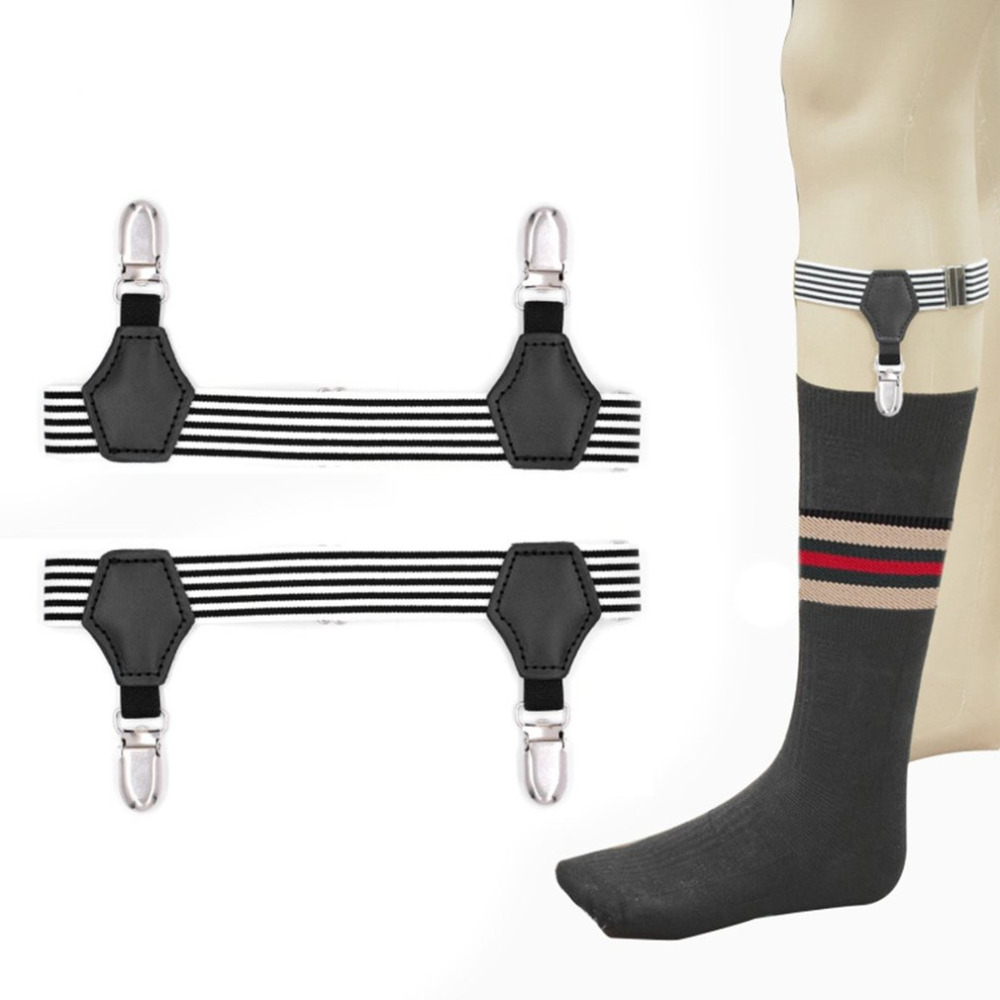 High Elastic Girdle Belt Black & White Stripes Stocking Clamp For Uniform Shirt Leggings Suspender Socks Garters Anti-slip Clip