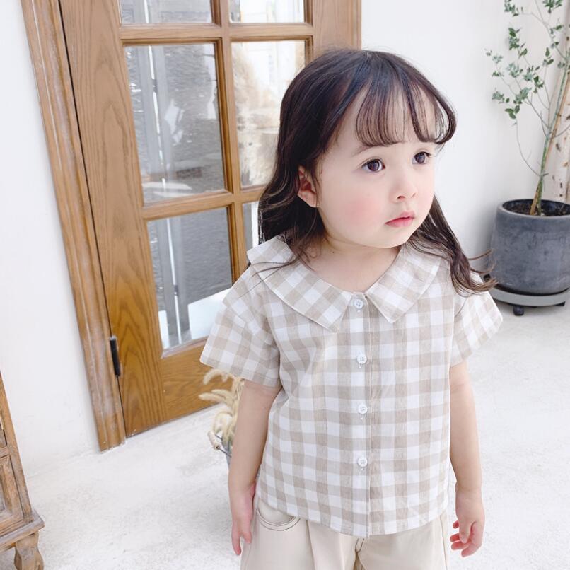 Sommer Baumwolle Kurzarm Plaid Top Mädchen Bluse Drehen-unten Kragen Kinder Kinder Shirts Baby Kleinkind Tops Und Blusen Mädchen Hemd