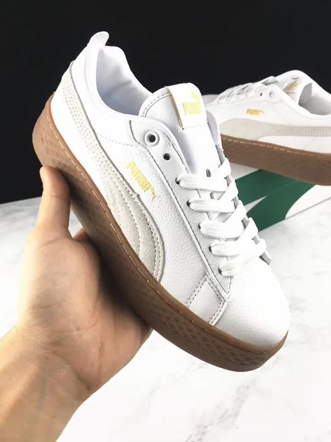 new product ecff4 655cf US $55.51 17% OFF|2018 PUMA Suede Cleated Creeper Women's First Generation  Rihanna Classic Basket Suede Tone Simple brown Badminton Shoes 36 40-in ...