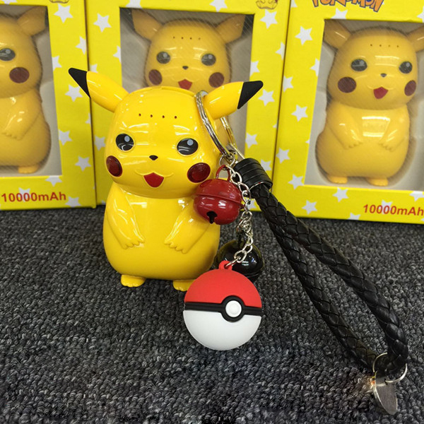 2016 hot selling Vocable Lovely cartoon 10000mah power bank  super Pikachu Pika pokemon portable battery With Pokepall Pendant