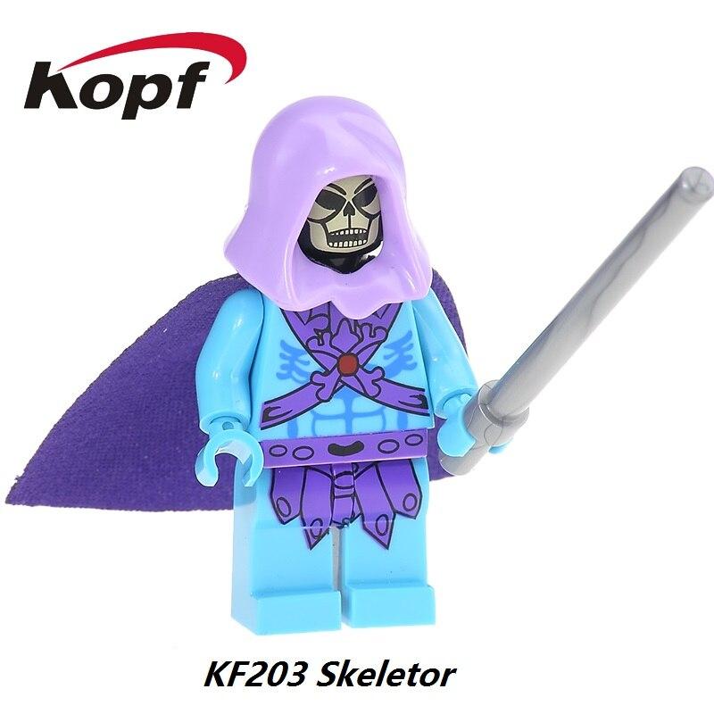 Одноместный Продажа Редкие Моту властелины вселенной Старинные Мошенник Skeletor Он-Человек Строительные Блоки Super Heroes Кирпичи Дети игрушки KF203