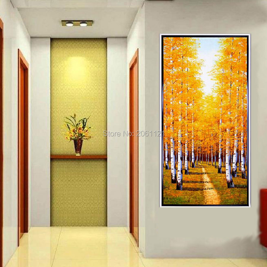 Aliexpress.com : Buy large canvas art cheap hand painted autumn tree ...