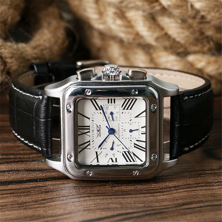 JARAGAR Mechanical Watches Men Fashion Genuine Leather Wrist Watch Automatic Date Day Display Watches Mens Clock with Gift Box (4)