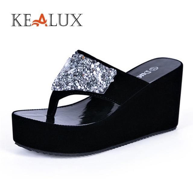 413a8d6cf1c0 KEALUX 2018 Summer Hot Sale Women Slippers Non-slip Hard Wearing Rubber  Crystal Solid Outside