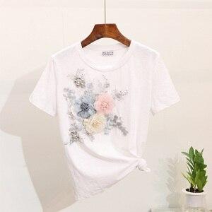 Image 4 - Amolapha 女性ヘビーワーク刺繍 3D 花 Tシャツ + ジーンズ 2 本用セット夏のカジュアルスーツ