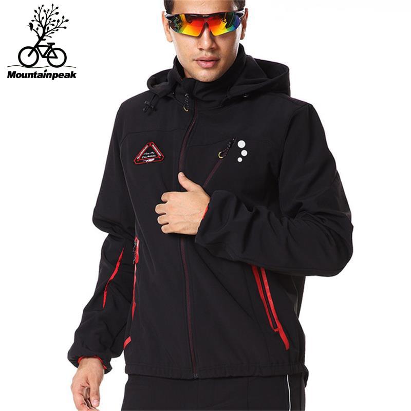 Uomini Cicliismo Giubbotti Escursione di Campeggio Jacketd Formato S-3XL Maschile A Maniche Lunghe Giacca A Vento Impermeabile Antivento Addensare In Pile Softshell
