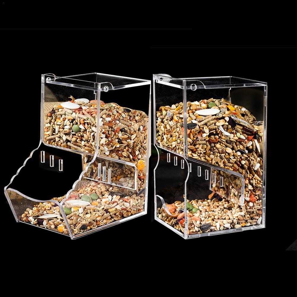Clear Acrylic Automatic Hamster Feeder Small Pet Feeder Hamster Supplies Food Bowl Automatic Feeding Device Drop Shipping in Bird Feeding from Home Garden