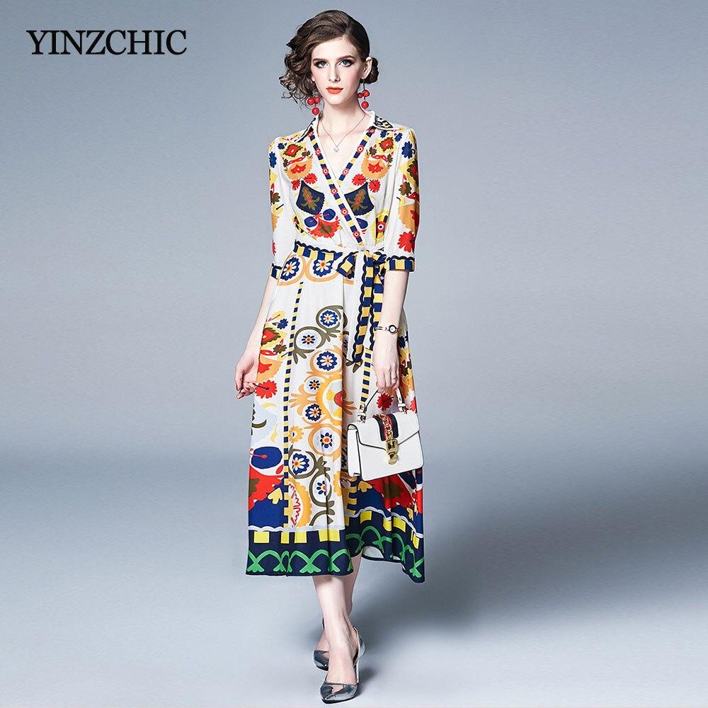 Vintage tournesol imprimé femme robe v-cou dames mi-robe de soirée ceinture taille une ligne élégante robe pour femme été nouvelle robe