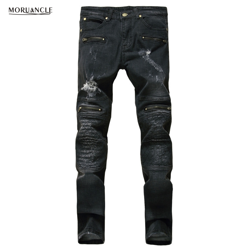 Brand Designer Mens Motorcycle Jeans Joggers Ripped Biker Denim Pants For Man Multi Zipper Fashion Distressed Jean Trousers 2017 fashion patch jeans men slim straight denim jeans ripped trousers new famous brand biker jeans logo mens zipper jeans 604