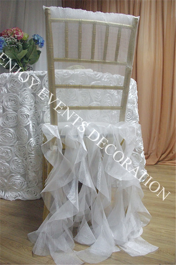 YHC#109 crinkle tulle chair back cover with curly sash back