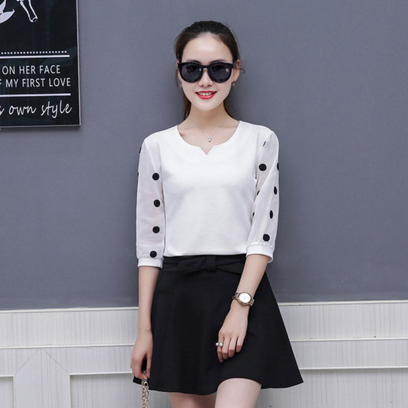 Polka Dot Print Women Blouse Ladies Casual Plus Size Lace Half Sleeve Women Summer OL Workwear Elegant Slim Chiffon Blouses Tops in Blouses amp Shirts from Women 39 s Clothing