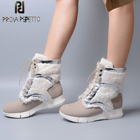 Prova Perfetto Korean Style Creamy White Short Snow Boot Waterproof Sheepskin with Fur Thick Bottom Lace up Plush In Female Boot