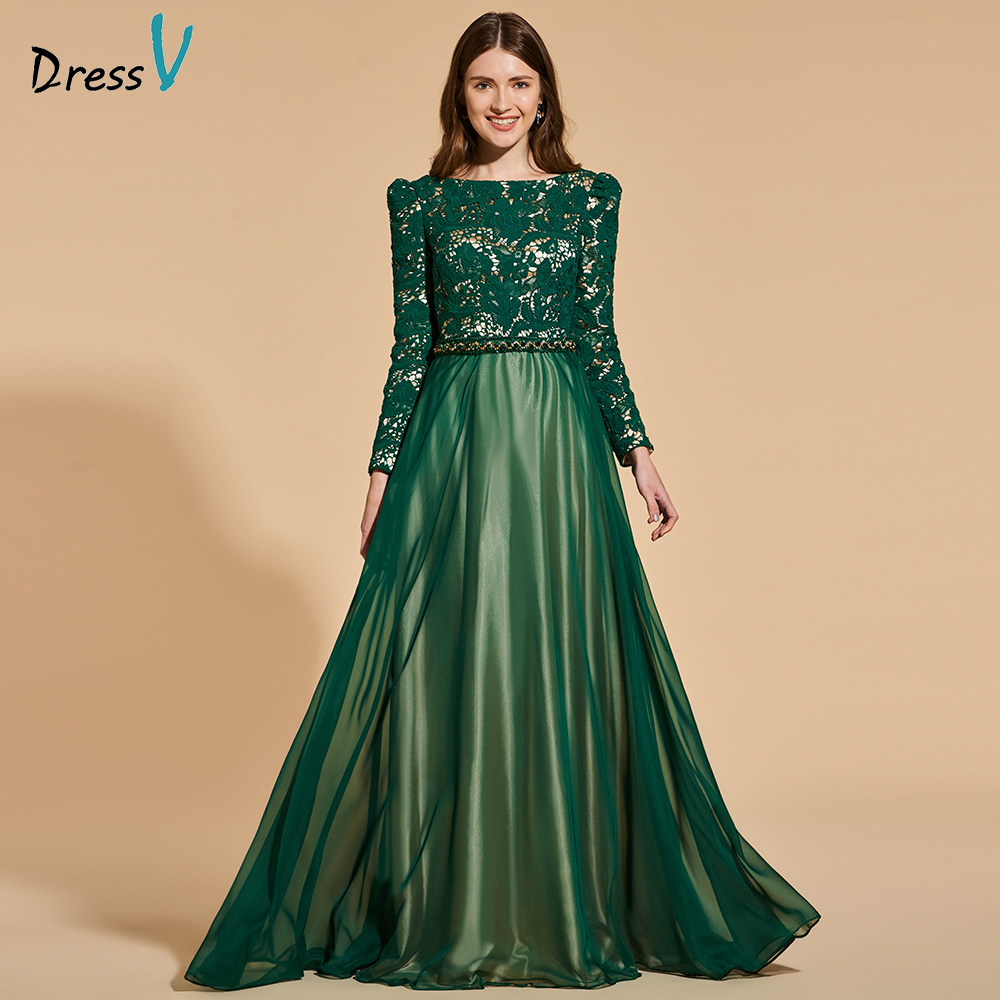 Dressv Evening-Party-Gown Long-Sleeves Elegant Neck Scoop A-Line Customize