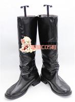 Six Gravity Black Long Adult Halloween Cosplay Shoes Boots X002