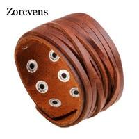 ZORCVENS-pulsera de cuero genuino para hombre y mujer, brazalete ajustable con hebilla de aleación, color negro y marrón, 2021