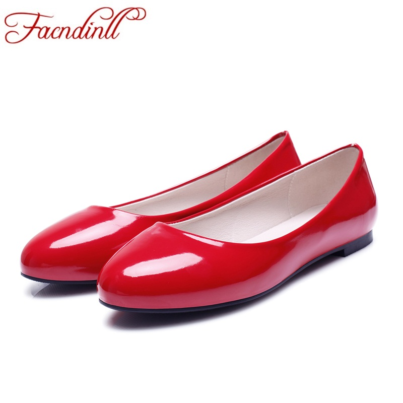 fashion spring summer ladies patent leather round toe ballet flats casual shoes woman loafers slip on ballerina flat big size 48 brand fedimiro spring oxford shoes women patent leather pointed toe slip on flat loafers casual metal buckles ladies flats