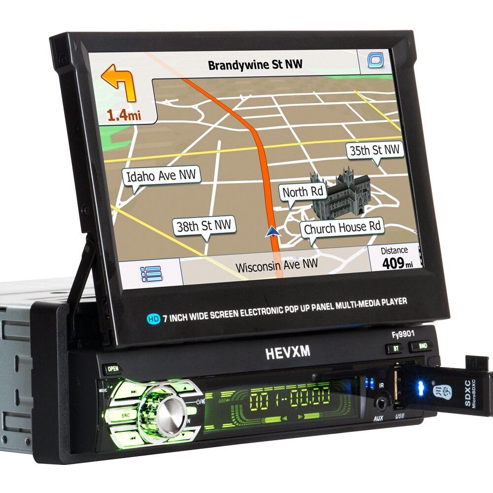 Lecteur dvd de voiture KANOR 1 din navigation gps cd mp3 mp5 usb sd Bluetooth 1DIN structure télescopique écran lecteur multimédia de voiture - 4