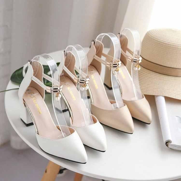 """Phụ Nữ Mới Mũi Nhọn Bơm Mùa Hè Thời Trang Gợi Cảm Cưới Vuông Gót Giày Cao Gót Người Phụ Nữ Ngọc Trai Giày Sandal Zapatos Mujer """"No1"""