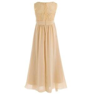 Image 4 - 4 14Years tuổi Trẻ Cô Gái Hoa Voan Ren Ăn Mặc cho Bữa Tiệc và Phù Dâu Đám Cưới Một shoulder Dress Prom Trang Phục Chính Thức Maxi ăn mặc