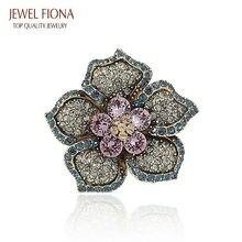Romántico Rosa Llena de Diamantes de Imitación y Cristal Flor Broches Para la Mujer Chapado En Oro Broche