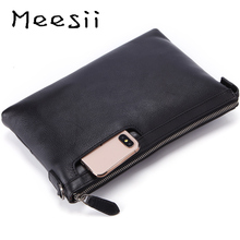 Meesii Mens Splicing leather handbags Black Zipper Casual bag for Male Business Envelope Makeup Bag Soft Clutches