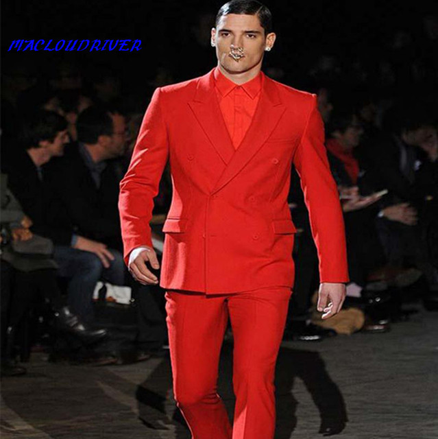 Jacket+Pants) Double Breasted Groom Suit 2018 Mens Suits Red ...