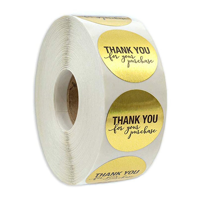 "Round Gold ""THANK YOU For Your Purchase"" Stickers Seal Labels 500 Labels Stickers Scrapbooking For Package Stationery Sticker"