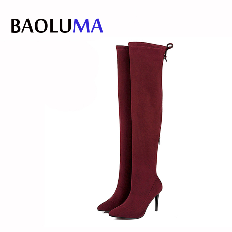 Women Stretch Faux Suede Thigh High New Zipper Boots Sexy Fashion Over The Knee Boots High Heels Woman Shoes Winered Shoes Woman women shoes over the knee boots sexy thigh high boots 2017 summer ladies fashion high heels boots shoes woman