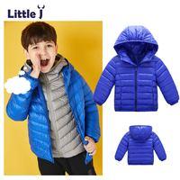 Little J Kids Boys Girls 90 White Duck Down Parkas Ultra Light Children Hooded Jackets Winter