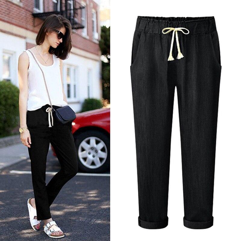 2019 Jeans femmes pantalons taille haute Harem pantalon femmes confortables pantalons décontractés grande taille 5XL 6XL