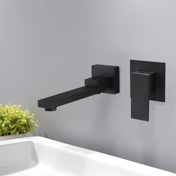 BECOLA Brass Simple Style Matte Black Brass Wall Mounted Basin Faucet Single Handle Mixer Tap Hot & Cold Water LT-309B