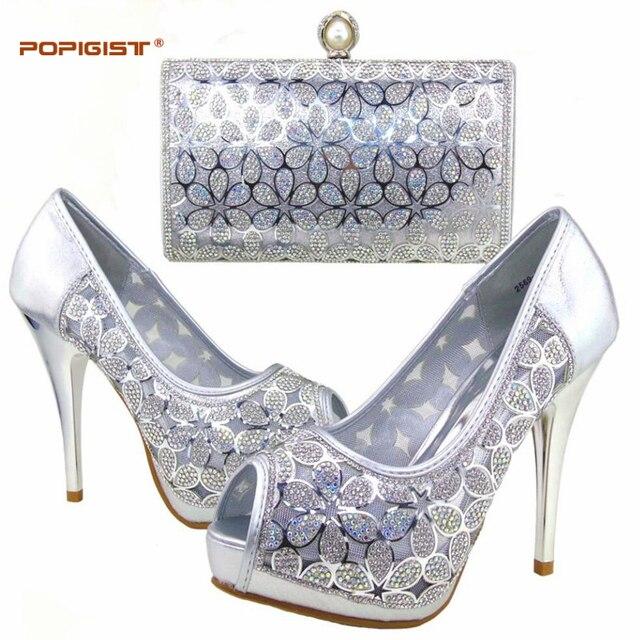 Nouvelles Arrivées 0e52f 1c387 € 59.36 |Dame douce couleur argent chaussures Italiennes et les sacs  assortis ensemble design agréable pour les femmes chaussures et sacs  ensemble ...