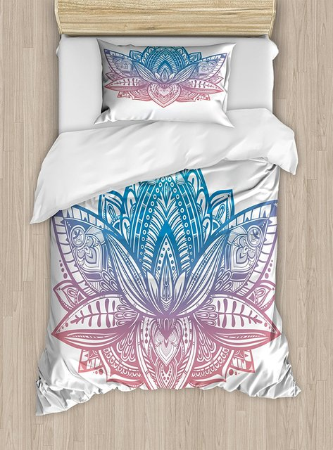 Yoga Duvet Cover Set Tribal Patterned Boho Ornamental Lotus Flower