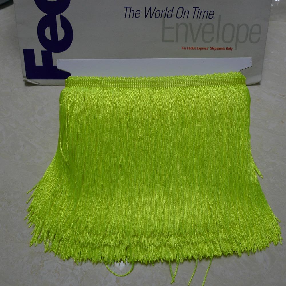 10 Meters 15cm 6 Long Neon Green Color Latin Dress Tassel Fringe