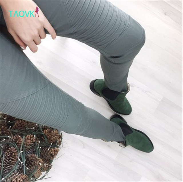 Taovk 2016 mujeres cremallera moto jegging jeans jeggings pantalones moto pantalones de estilo calidad stretch pantalones lápiz apretado