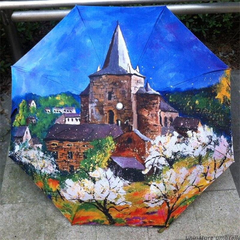 Oil Painting Town Pattern Anti UV Rain Umbrella Women Ladies Abstract Art 3 Folding Quality Waterproof