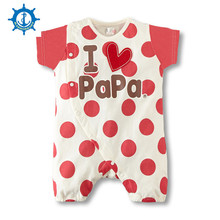 Summer Style Rompers 100% Cotton 4Styles Cute Dot Printing Love Mum&Dad Baby Neutral Newborn Baby Pajamas 1pcs HB054
