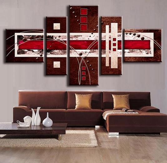 Abstract Oil Painting Brown Red Cream Canvas Modern Home Room Wall ...