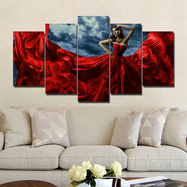 Modern Paint Framework Art Poster 5 Pieces Model Creative Wall Modular Picture Home Decoration Print On Canvas For Living Room