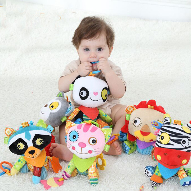 0+ Baby Toy Soft Animals Bunny Plush Doll Baby Crib Bed Hanging Animal Toy Teether Multifunction Doll Kids Toy WJ416