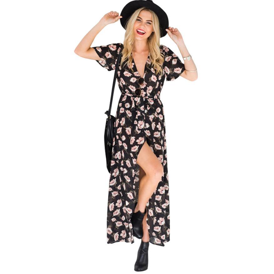 0f476aab95 Bohemian Womens Summer Vintage dress is long Vestidos Boho Long Maxi Split  Wrap Evening Party Beach