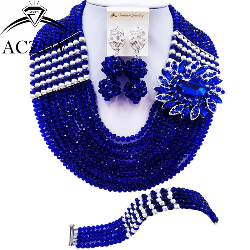 ACZUV 10 Rows Royal Blue Nigerian Wedding African Beads Jewelry Set Crystal Party Jewelry Sets 10LBJZ023ACZUV 10 Rows Royal Blue Nigerian Wedding African Beads Jewelry Set Crystal Party Jewelry Sets 10LBJZ023