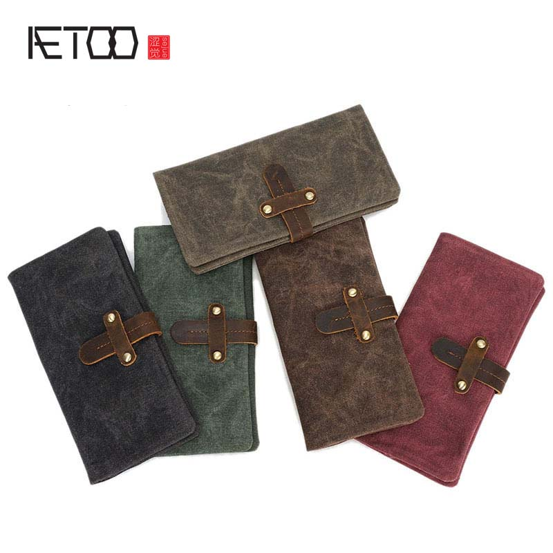Retro Man Canvas Wallets Male Purse Card Holders Wallet Designed Multi Pockets Vintage Wallet