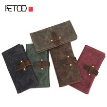 AETOO Brand  New Retro Man Canvas Wallets Male Purse Fashion Card Holders  Wallet New Designed Multi Pockets Purse
